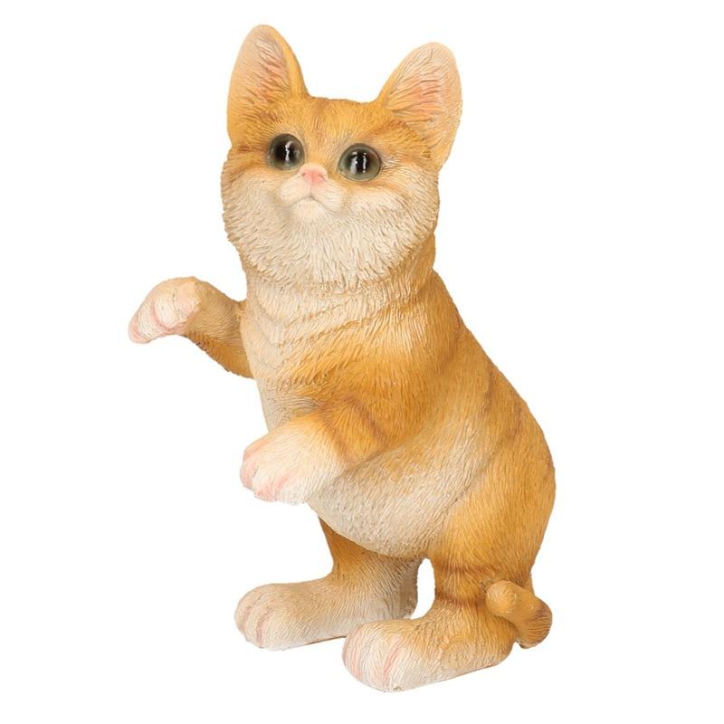 Polystone tuinbeeld rode katten/poezen kitten 24 cm
