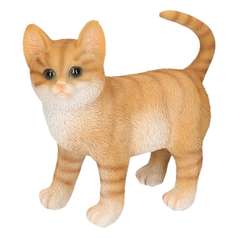Polystone tuinbeeld rode katten/poezen kitten staand 20 cm