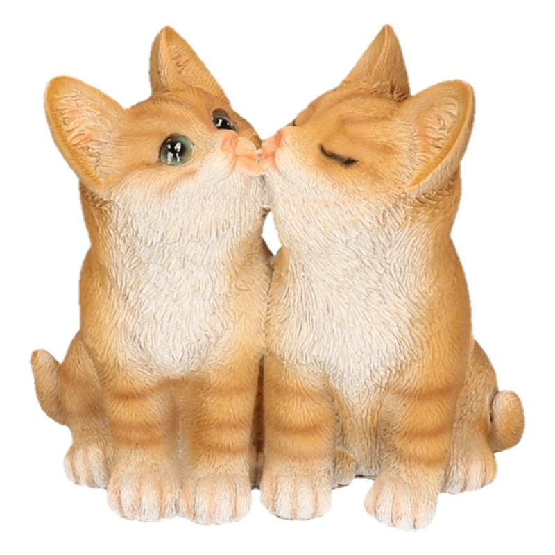 Polystone tuinbeeld rode katten/poezen kittens 20 cm