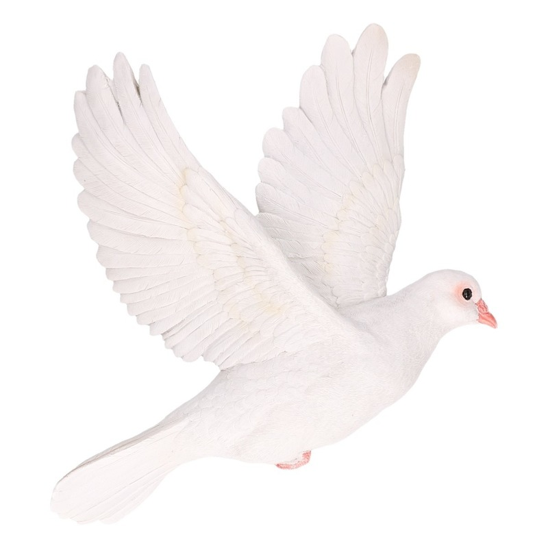 Polystone tuinbeeld witte duiven vogels 29 cm