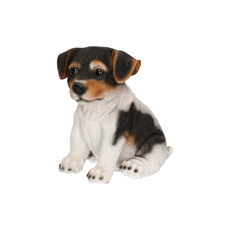 Polystone tuinbeeld zwart/wit Jack Russel puppy hondje 15 cm