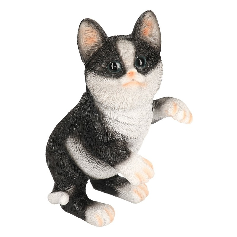 Polystone tuinbeeld zwart/witte katten/poezen kitten 24 cm