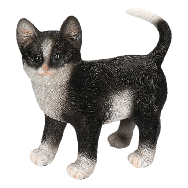 Polystone tuinbeeld zwart/witte katten/poezen kitten staand 20 cm