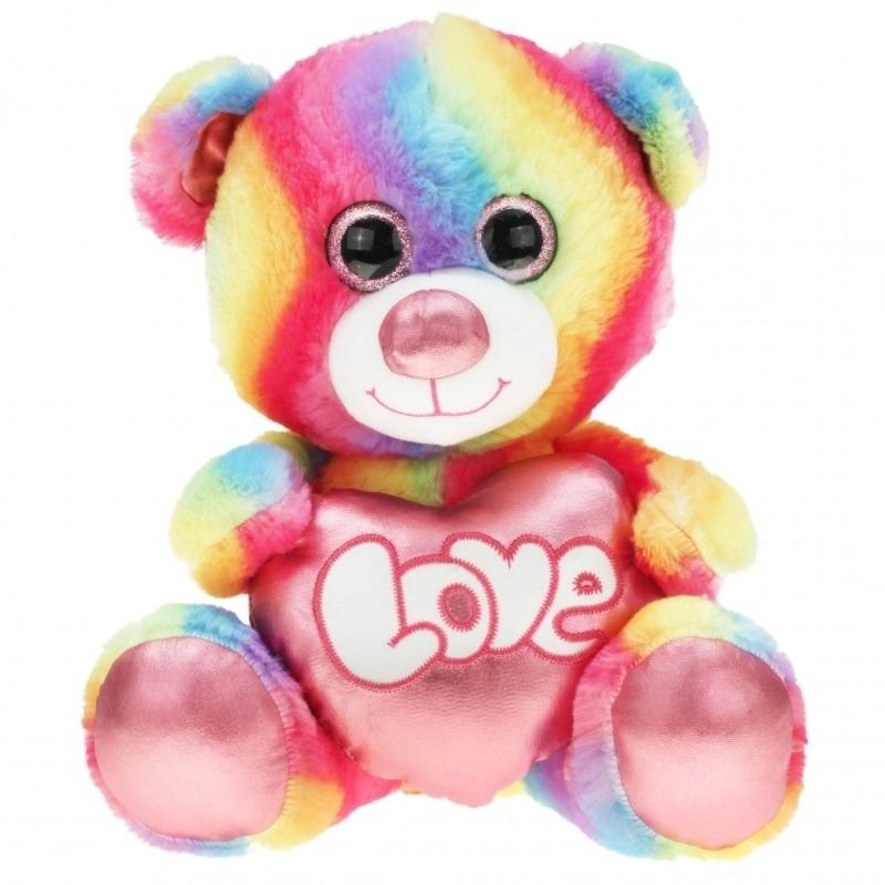 Regenboog kleuren troetelbeer knuffel 40 cm