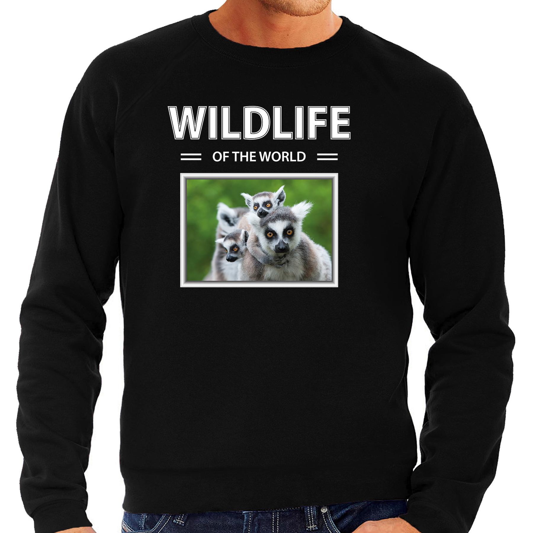 Ringstaart maki foto sweater zwart voor heren - wildlife of the world cadeau trui Ringstaart makis liefhebber