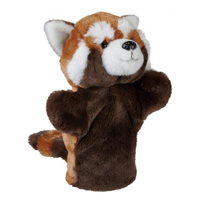Rode panda beren handpoppen knuffels 26 cm knuffeldieren