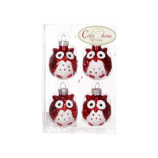 Rode uilen kerstballen 4 stuks