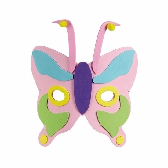 Roze kindermasker in de vorm van een vlinder 18cm