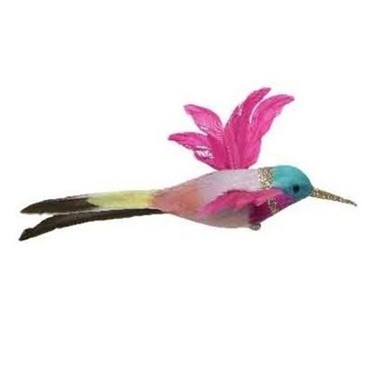 Roze kolibrie vogel op clip 15 cm