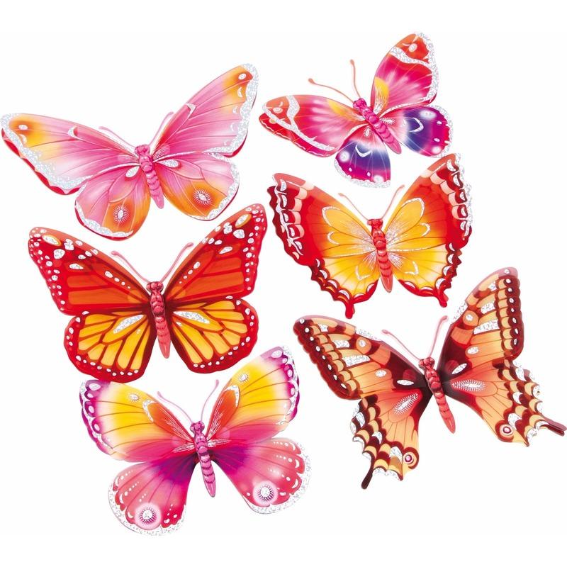 Roze/oranje 3D kinderkamer vlinder stickers 6 stuks
