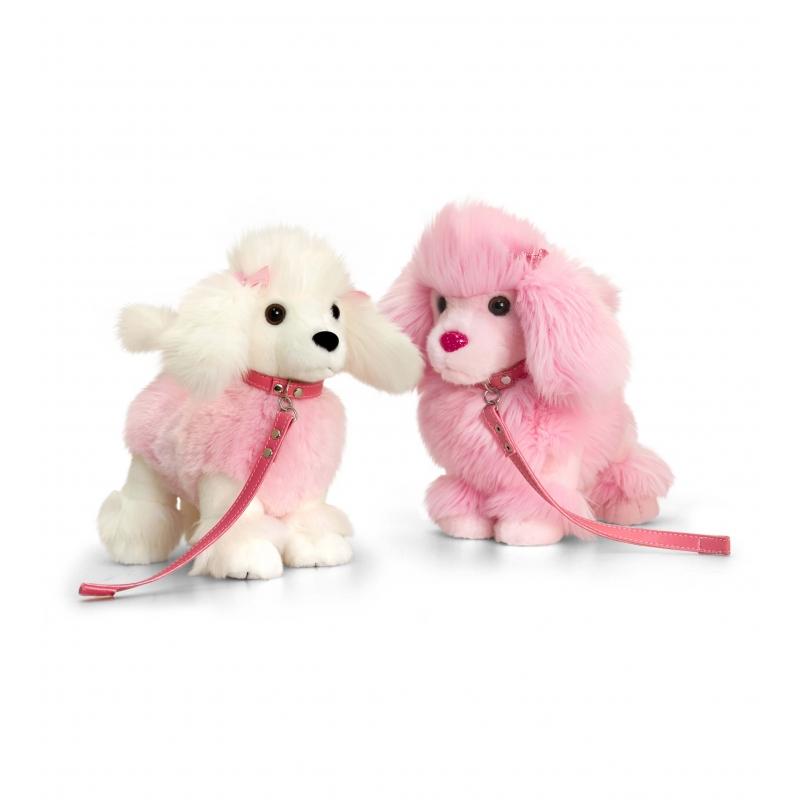 Roze staande poedel knuffel 30cm
