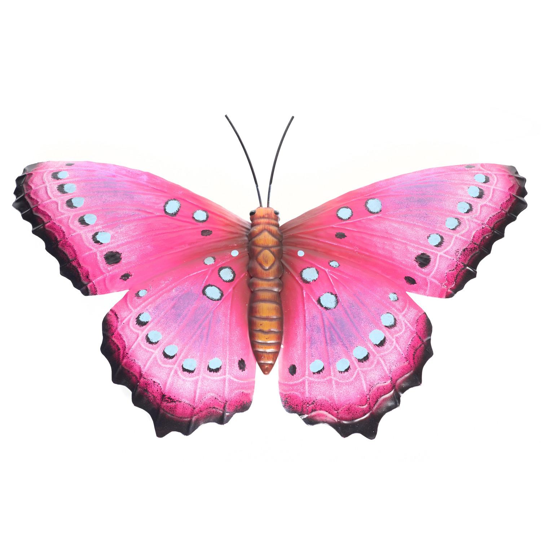 Roze/zwarte metalen tuindecoratie vlinder 48 cm
