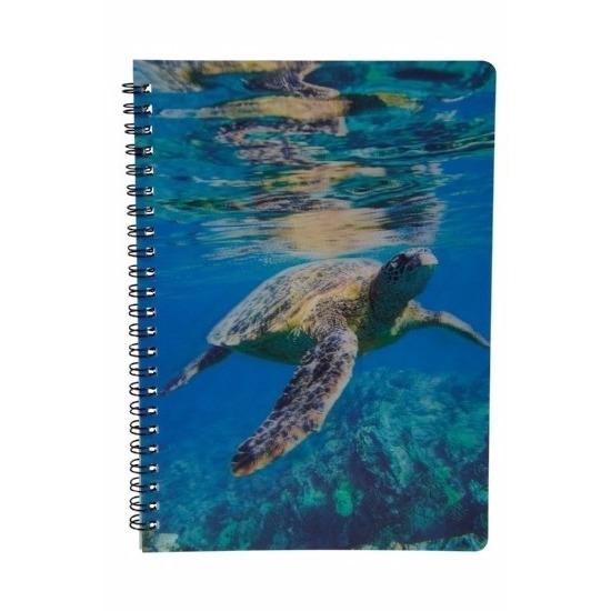 Schildpadden thema schrift/notitieblok/opschrijfboek 3D 21cm