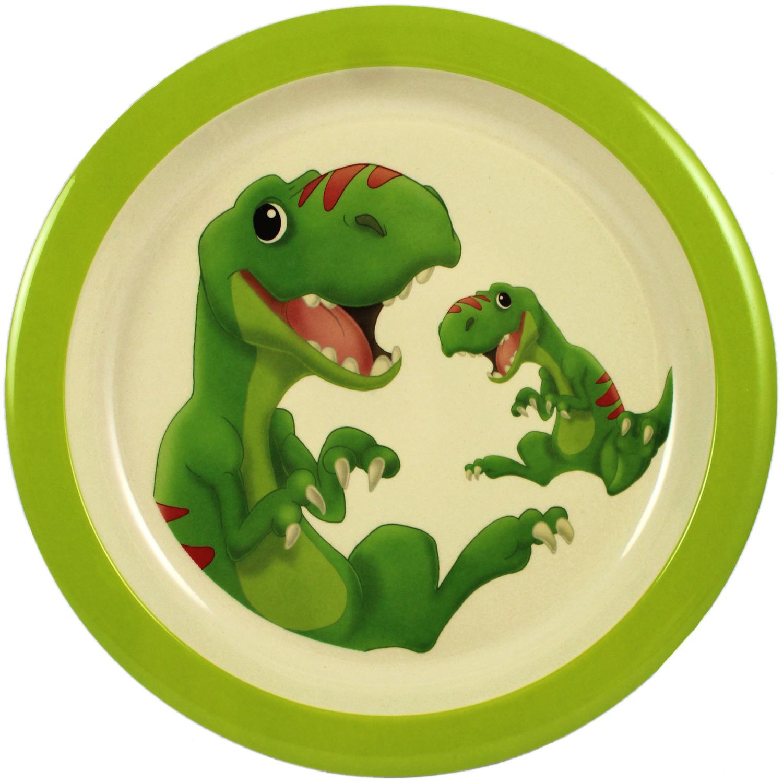 Set van 1x Melamine kinder borden met dinosaurus print wit/groen 21,5 cm