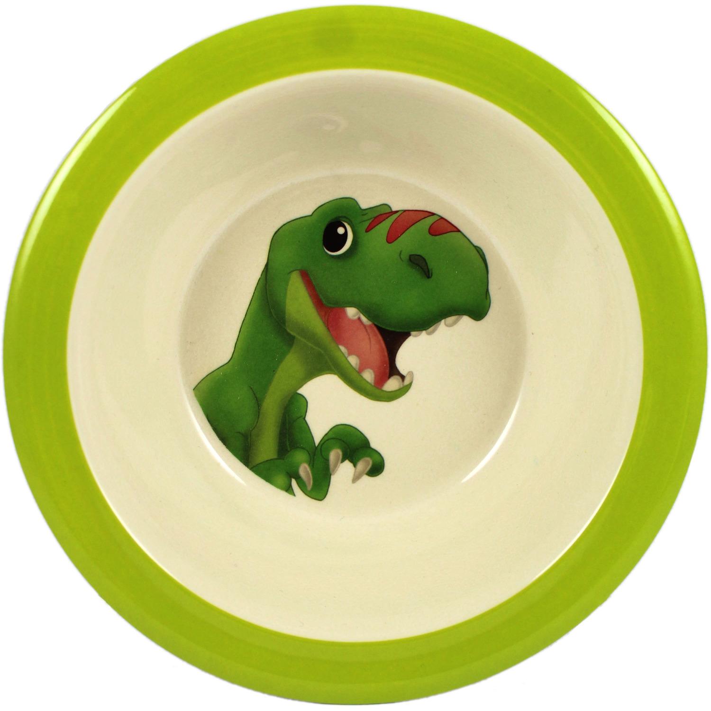 Set van 1x Melamine kommen met dinosaurus print wit/groen 21,5 cm voor peuters/kinderen