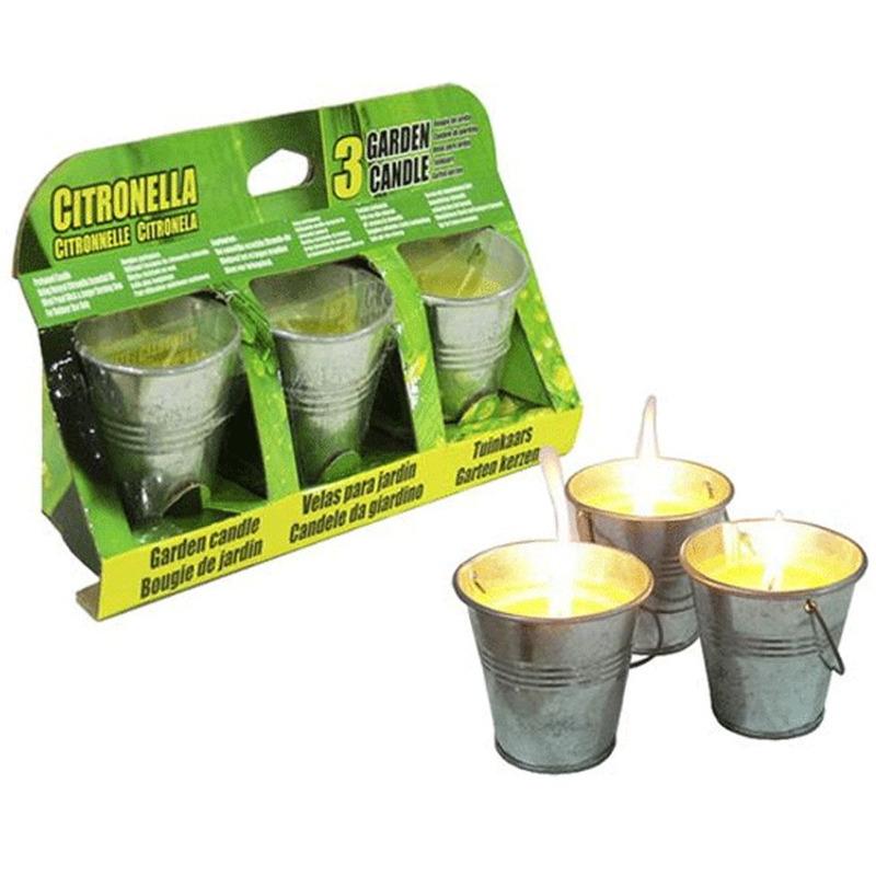 Set van 6x citronella anti muggen kaarsen in een emmertje