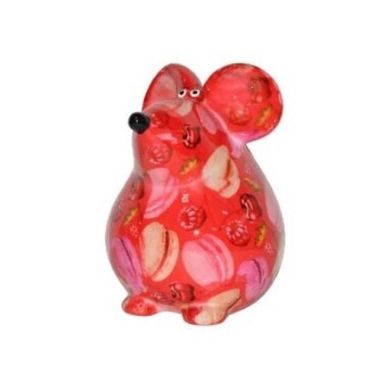 Spaarpot muis rood met flamingo print 17 cm