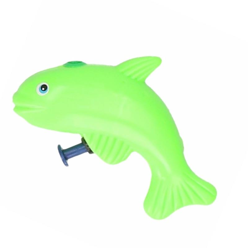 Speelgoed waterpistool vis groen 9 cm