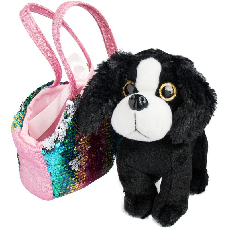 Speelgoed zwart/wit hondje met pailletten tas