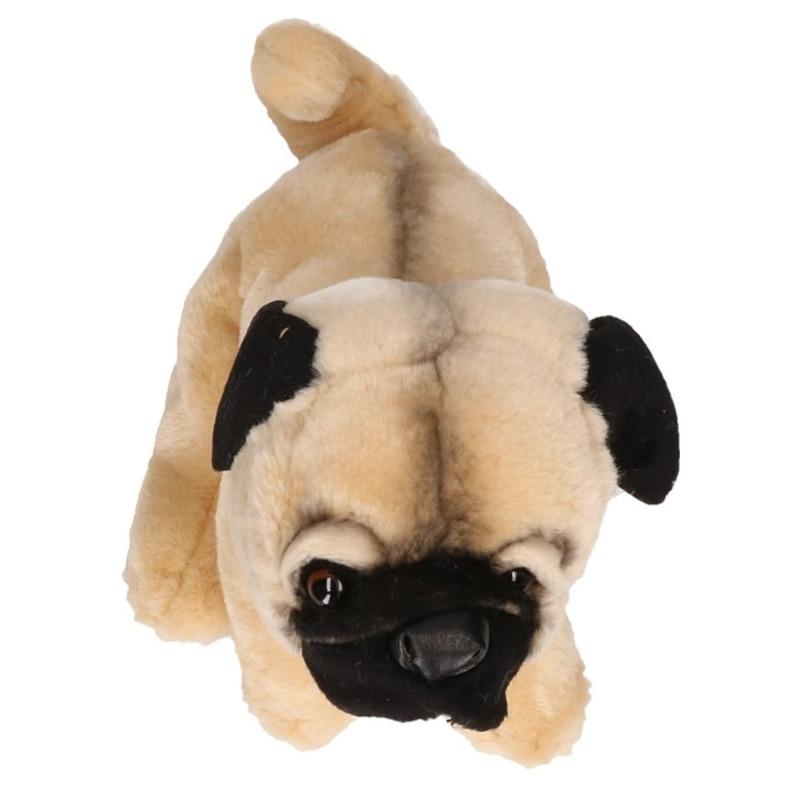 Staande Mopshond knuffel 23 cm