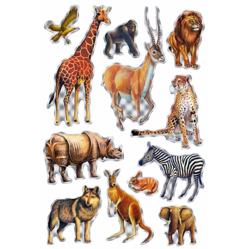Stickers diverse afrikaanse dieren 1 vel
