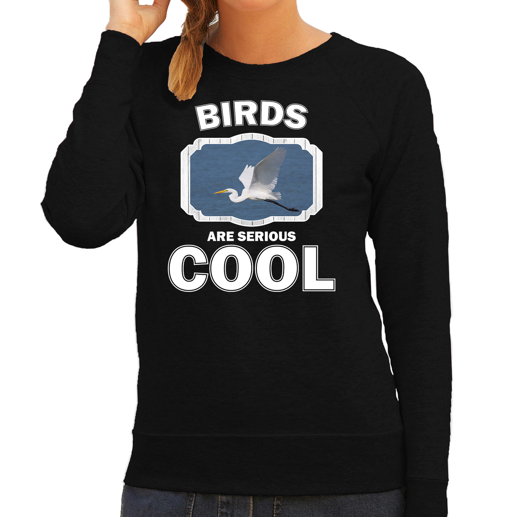 Sweater birds are serious cool zwart dames - vogels/ grote zilverreiger trui