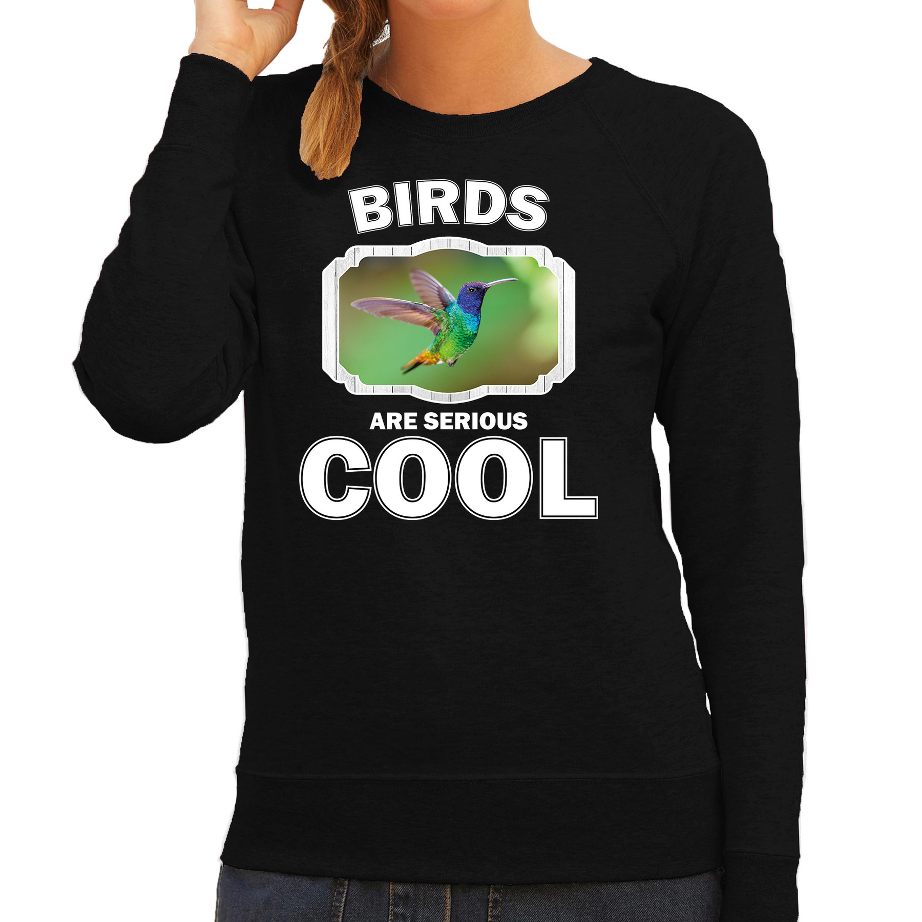 Sweater birds are serious cool zwart dames - vogels/ kolibrie vogel vliegend trui