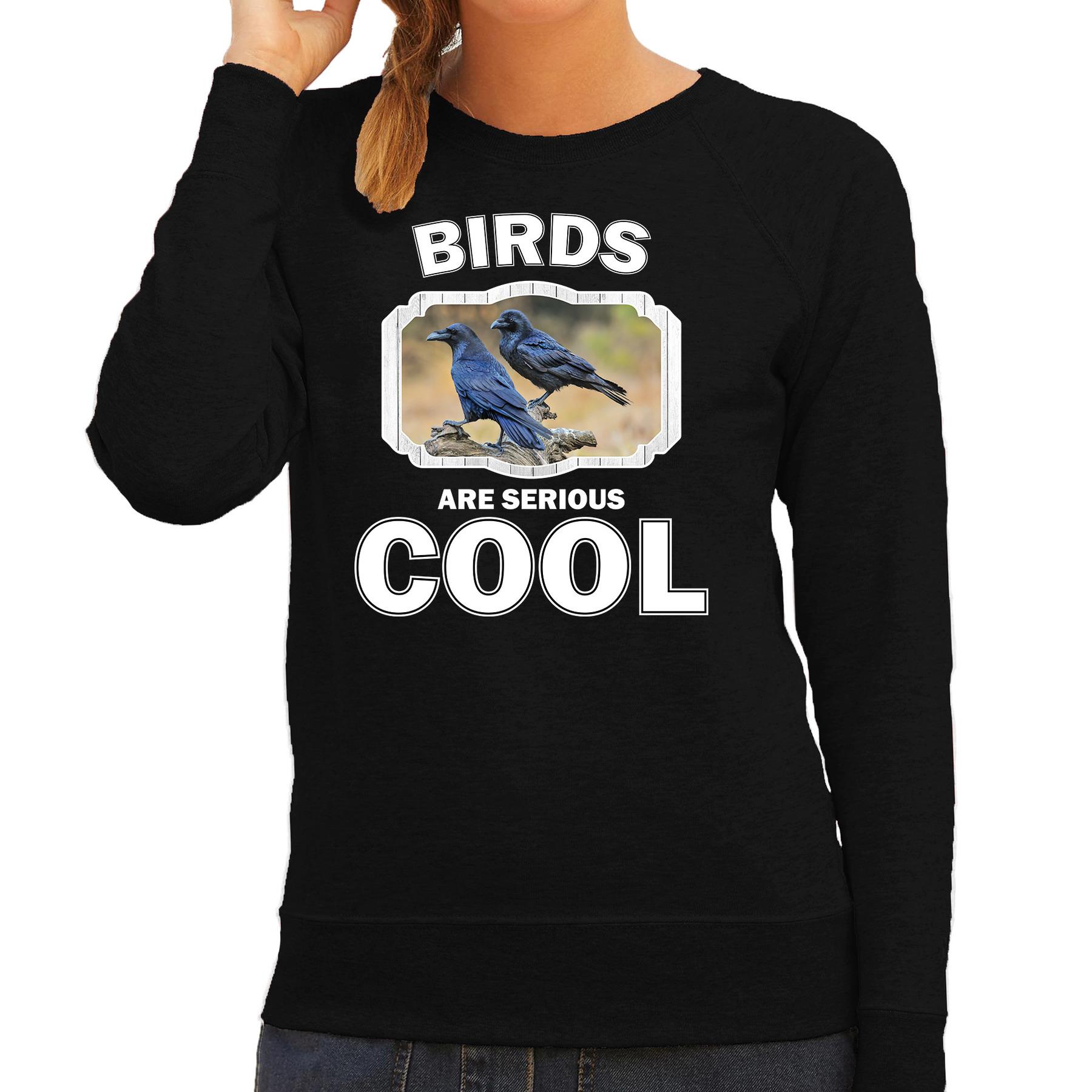 Sweater birds are serious cool zwart dames - vogels/ raaf trui