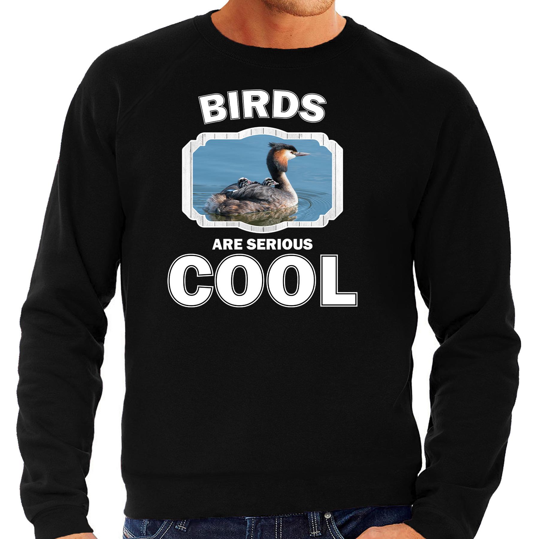Sweater birds are serious cool zwart heren - vogels/ fuut vogel trui