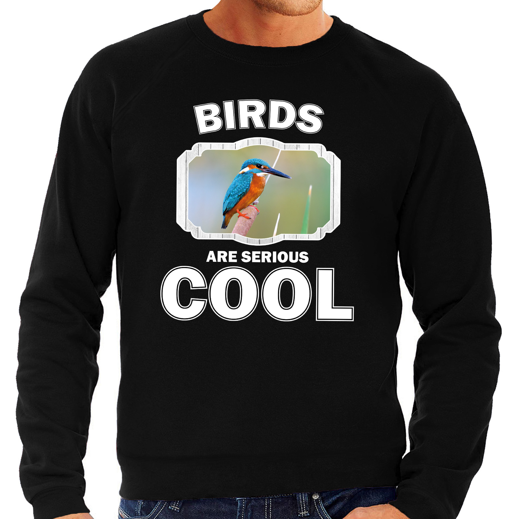 Sweater birds are serious cool zwart heren - vogels/ ijsvogel trui
