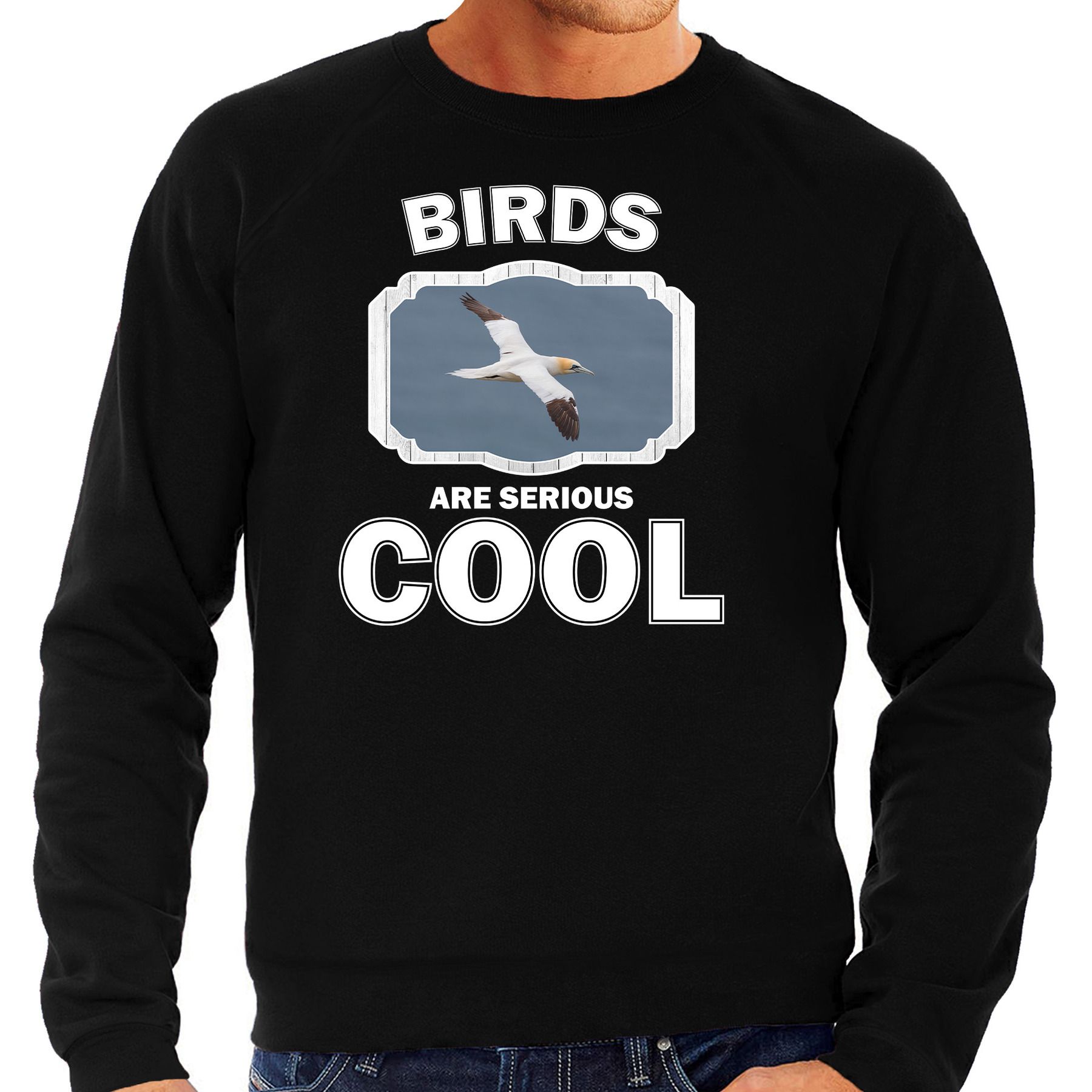 Sweater birds are serious cool zwart heren - vogels/ jan van gent vogel trui