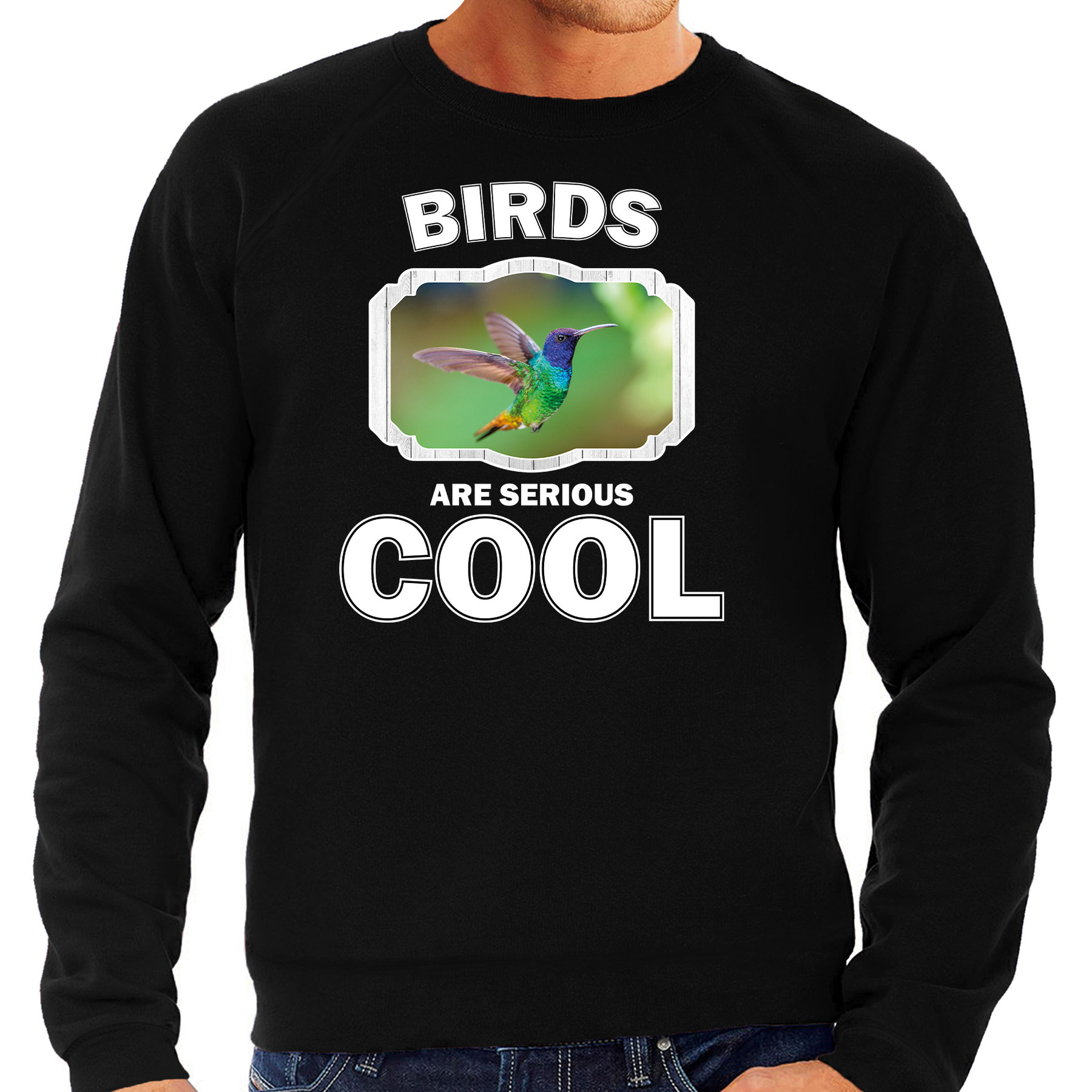 Sweater birds are serious cool zwart heren - vogels/ kolibrie vogel trui