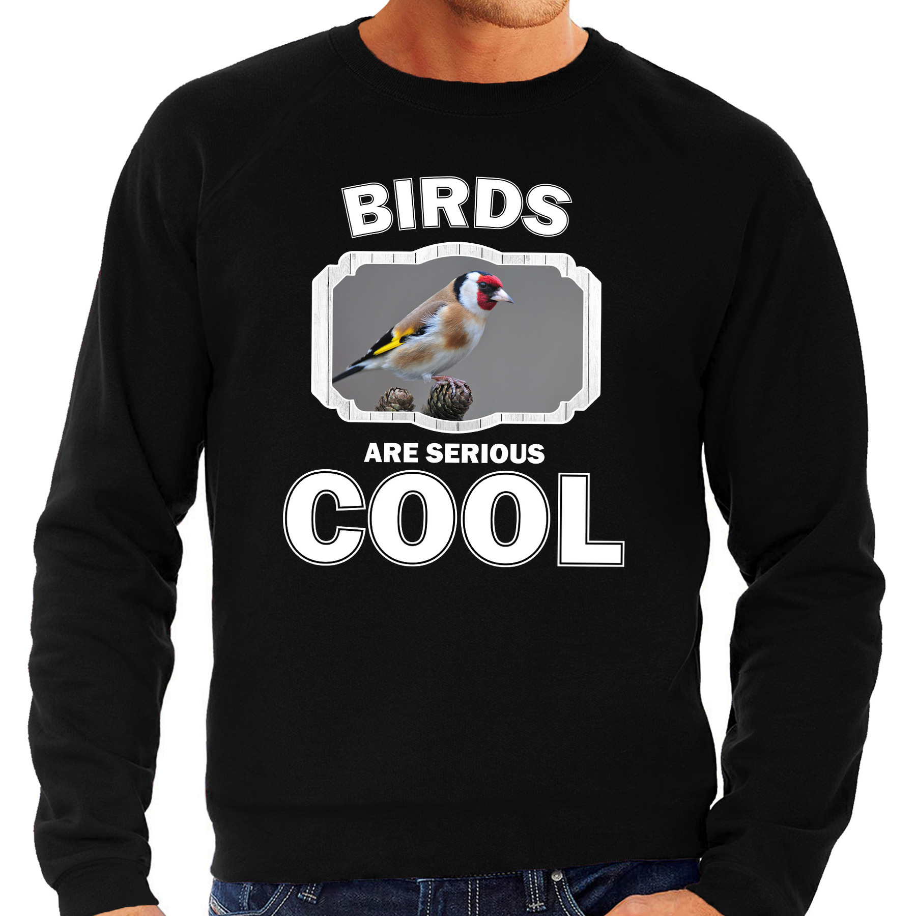 Sweater birds are serious cool zwart heren - vogels/ putter vogel trui