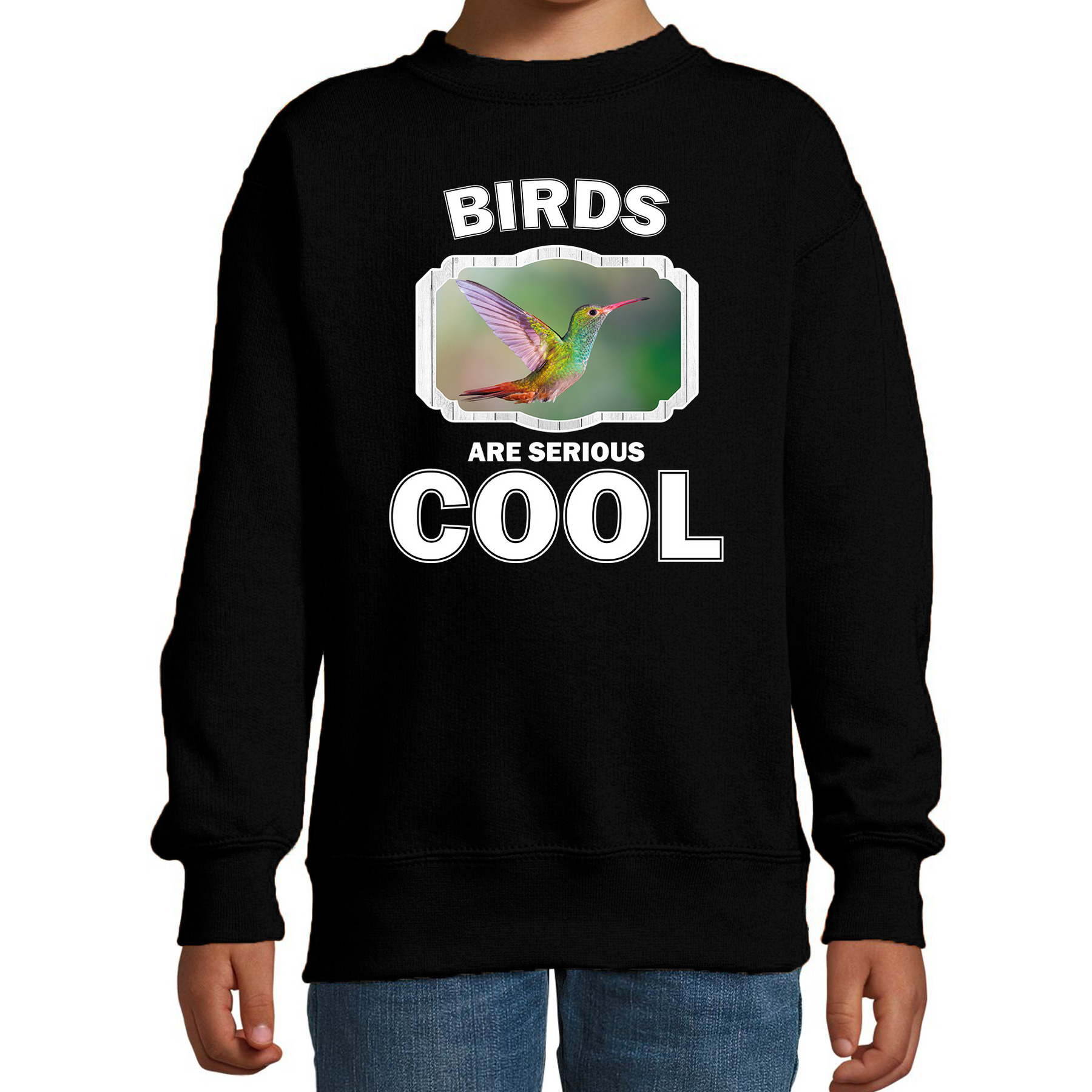 Sweater birds are serious cool zwart kinderen - vogels/ kolibrie vogel trui