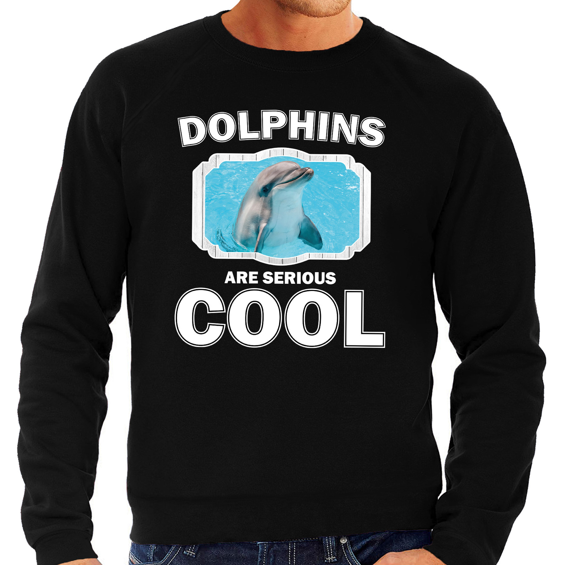 Sweater dolphins are serious cool zwart heren - dolfijnen/ dolfijn trui