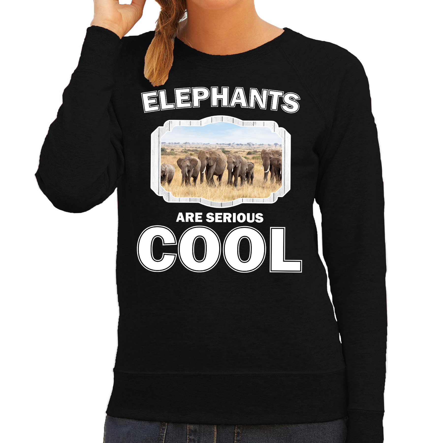 Sweater elephants are serious cool zwart dames - kuddde olifanten/ olifant trui