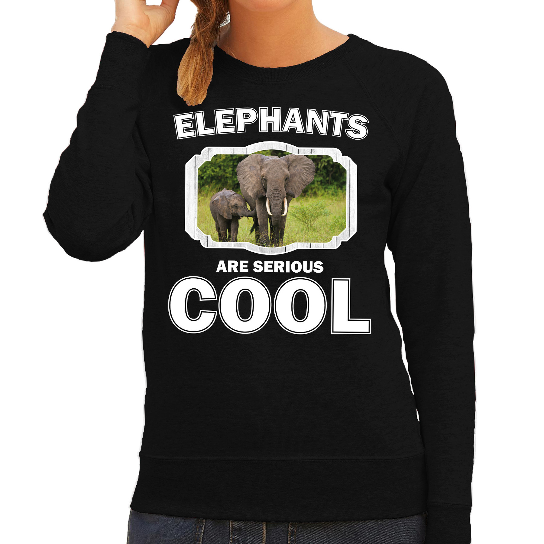 Sweater elephants are serious cool zwart dames - olifanten met kalf/ olifant trui