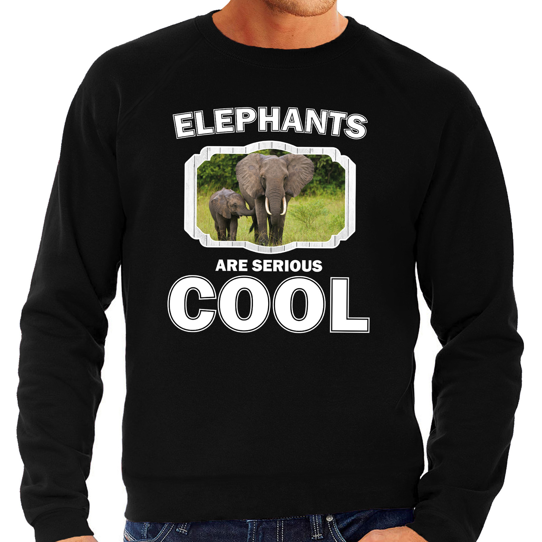 Sweater elephants are serious cool zwart heren - olifanten/ olifant met kalf trui