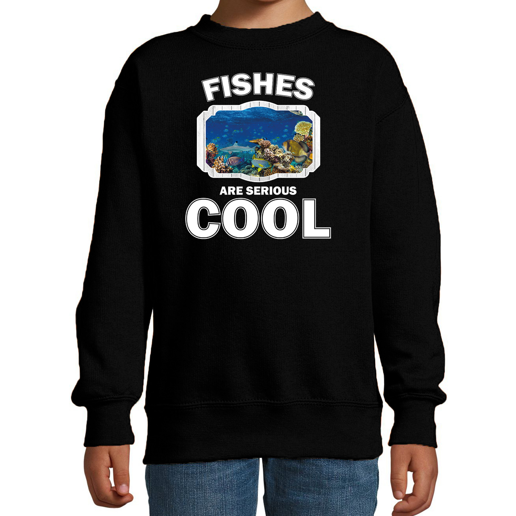 Sweater fishes are serious cool zwart kinderen - vissen/ vis trui