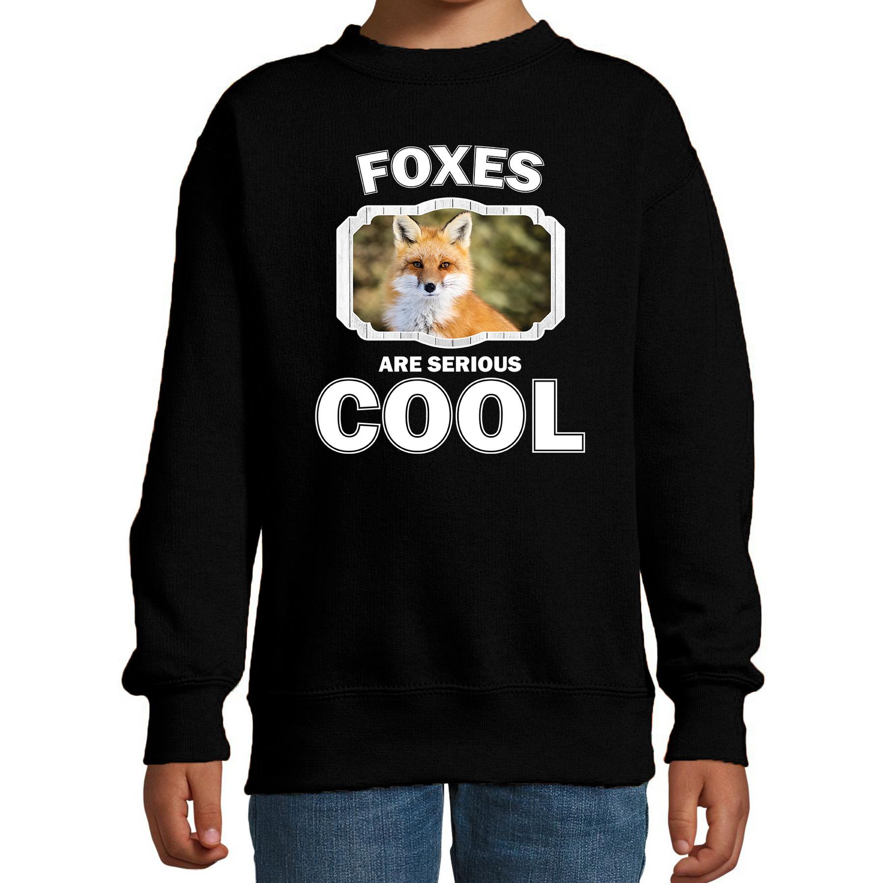 Sweater foxes are serious cool zwart kinderen - vossen/ vos trui