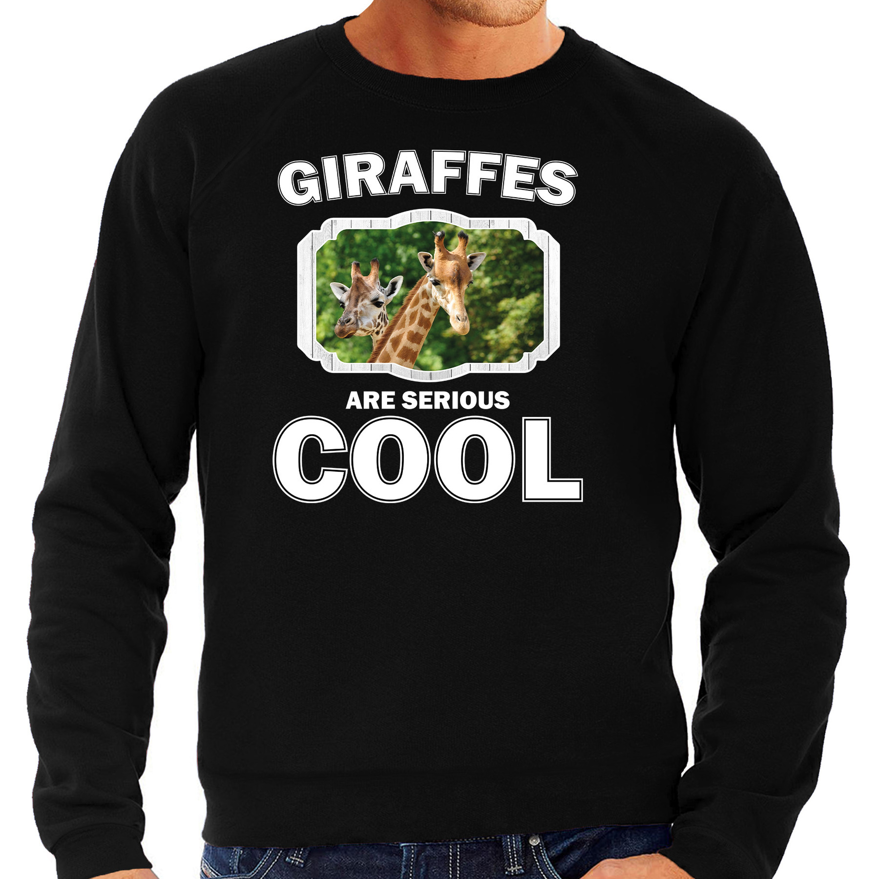 Sweater giraffes are serious cool zwart heren - giraffen/ giraffe trui