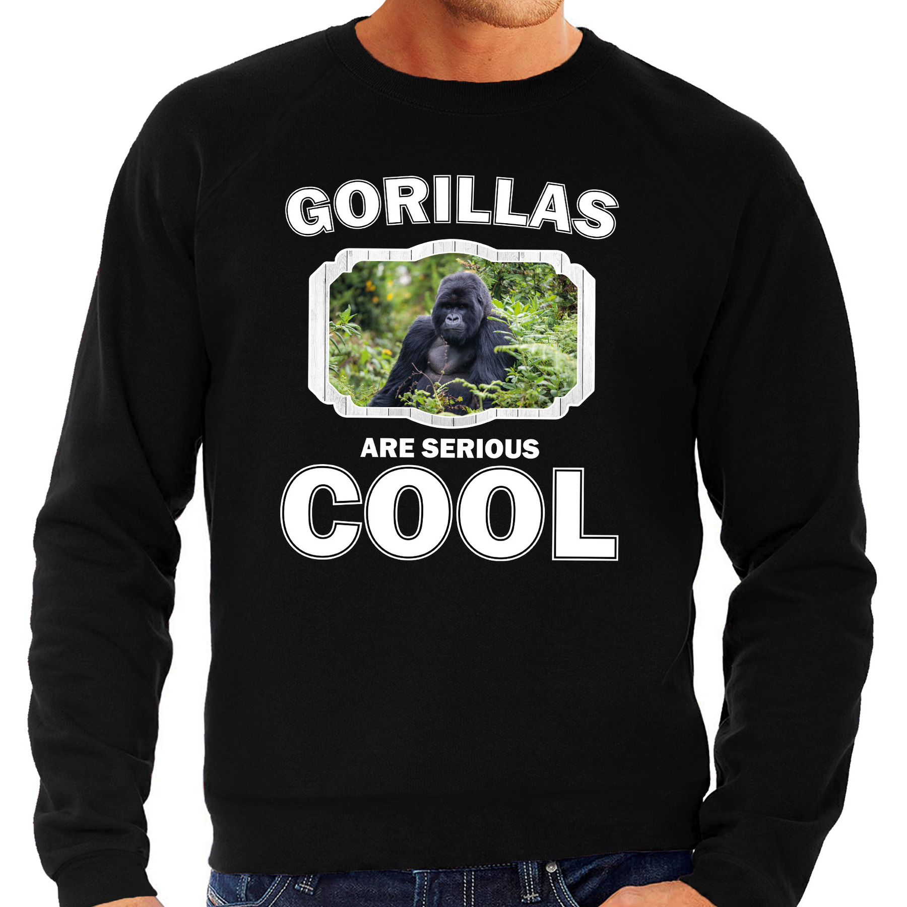 Sweater gorillas are serious cool zwart heren - gorilla apen/ gorilla trui
