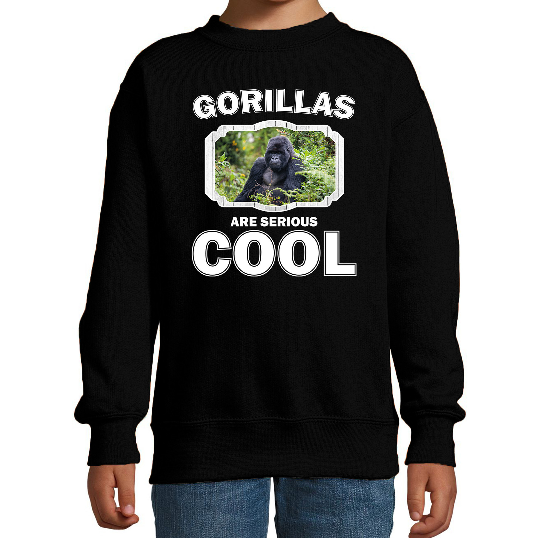 Sweater gorillas are serious cool zwart kinderen - gorilla apen/ gorilla trui