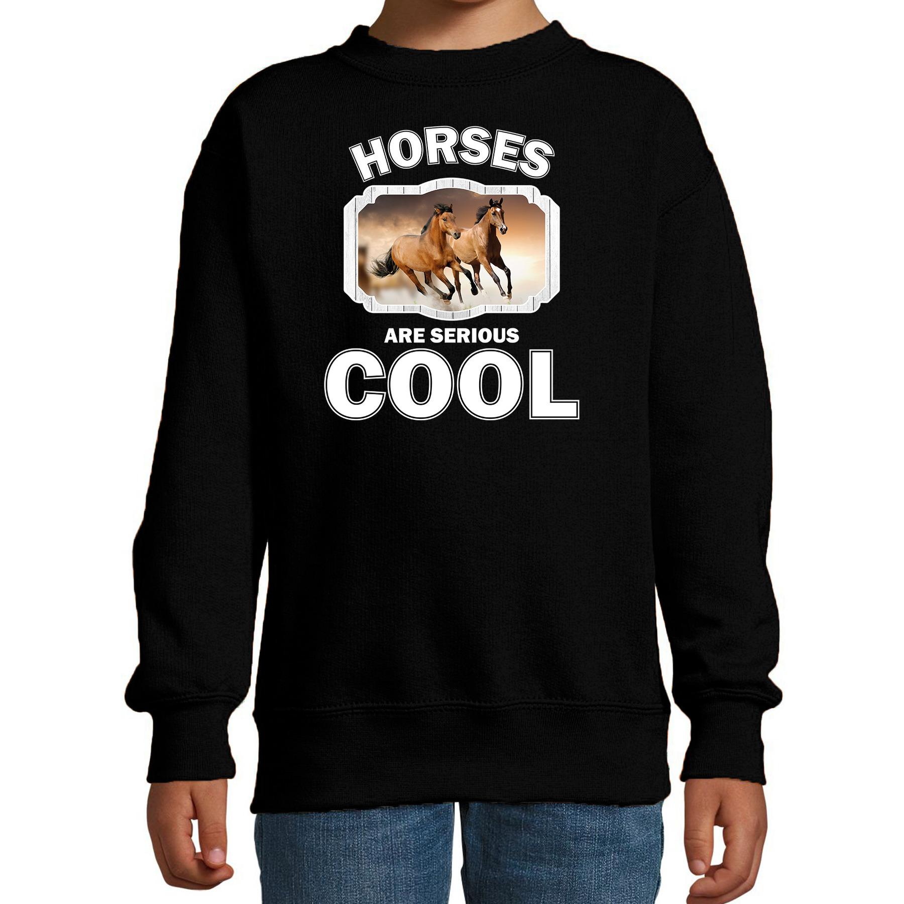 Sweater horses are serious cool zwart kinderen - paarden/ bruin paard trui