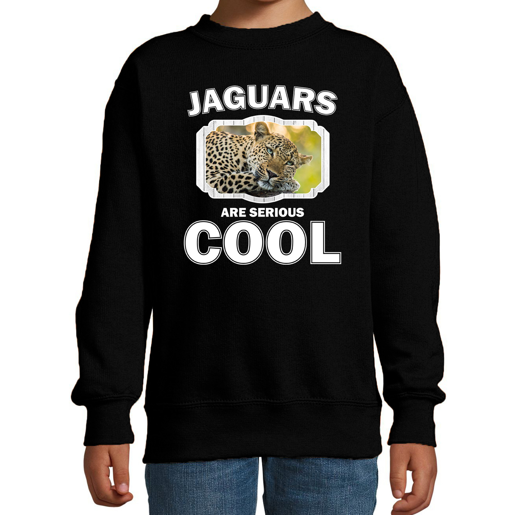 Sweater jaguars are serious cool zwart kinderen - jaguars/ luipaarden/ luipaard trui