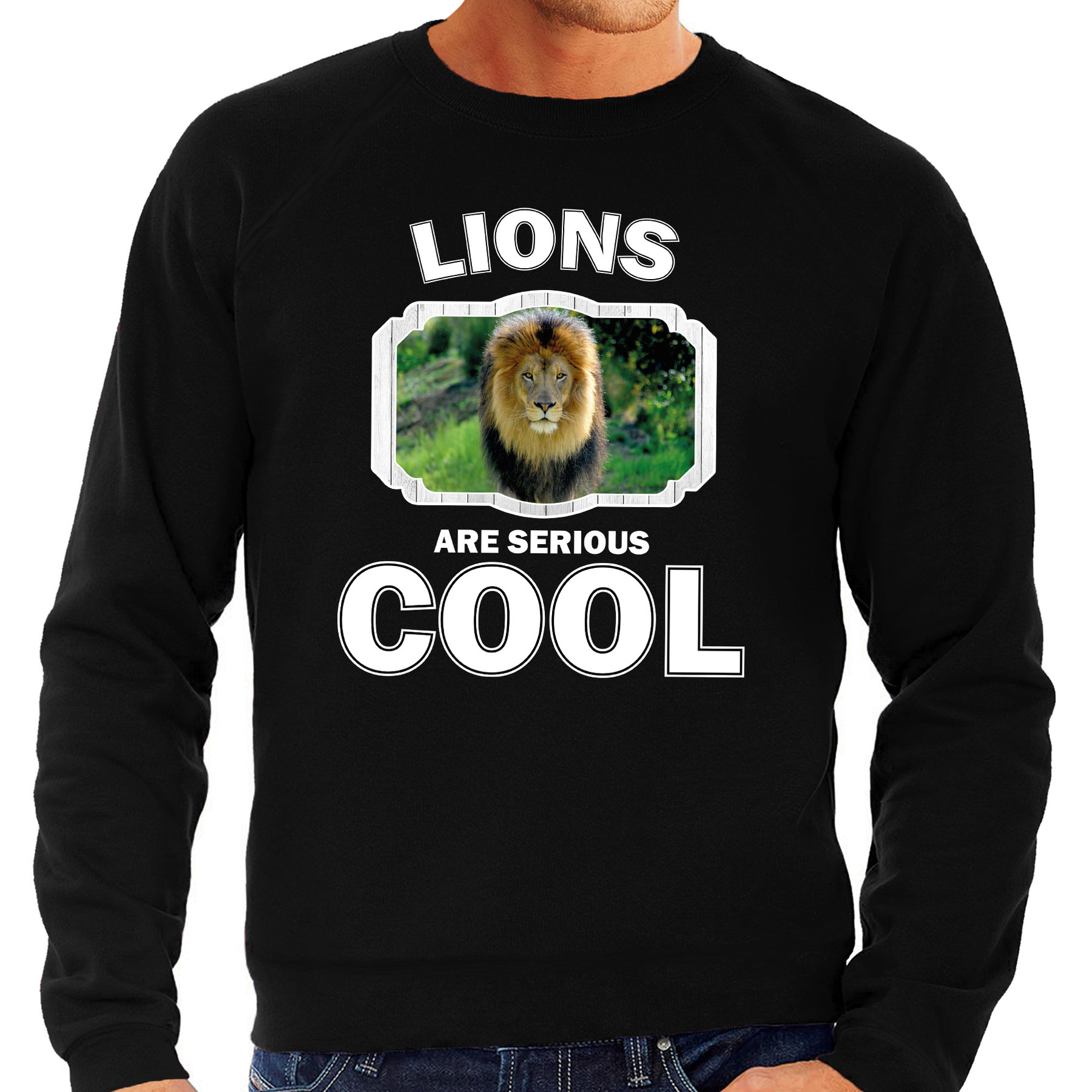 Sweater lions are serious cool zwart heren - leeuwen/ leeuw trui