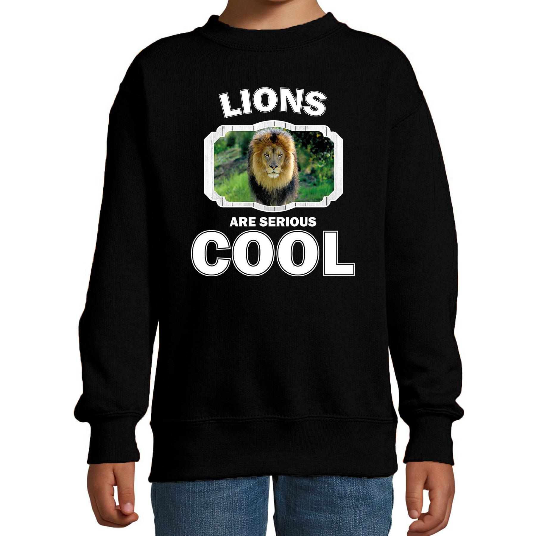 Sweater lions are serious cool zwart kinderen - leeuwen/ leeuw trui