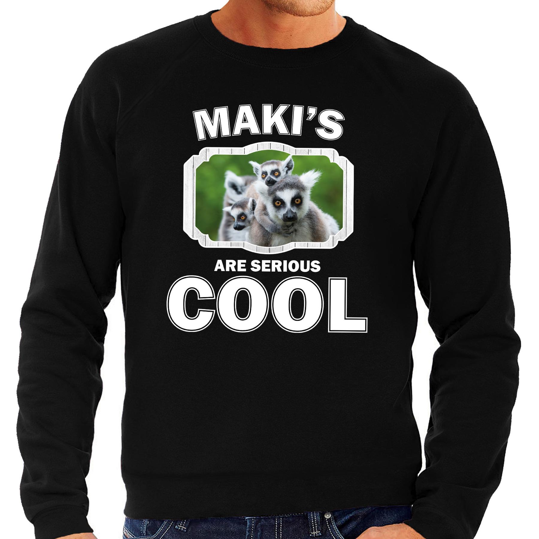 Sweater makis are serious cool zwart heren - maki apen/ maki trui
