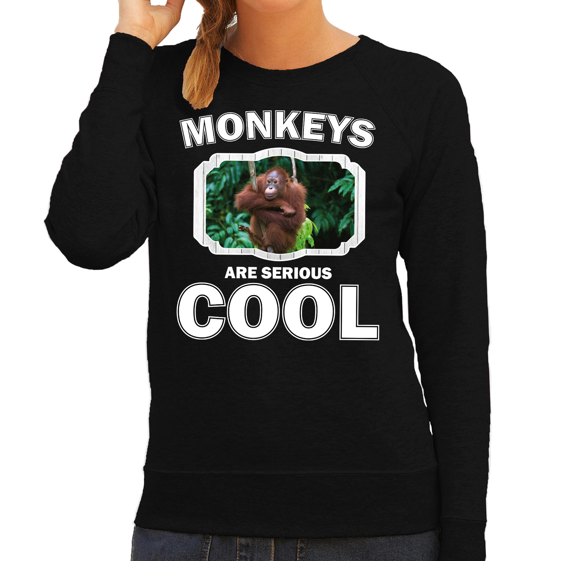 Sweater monkeys are serious cool zwart dames - Apen/ orangoetan trui