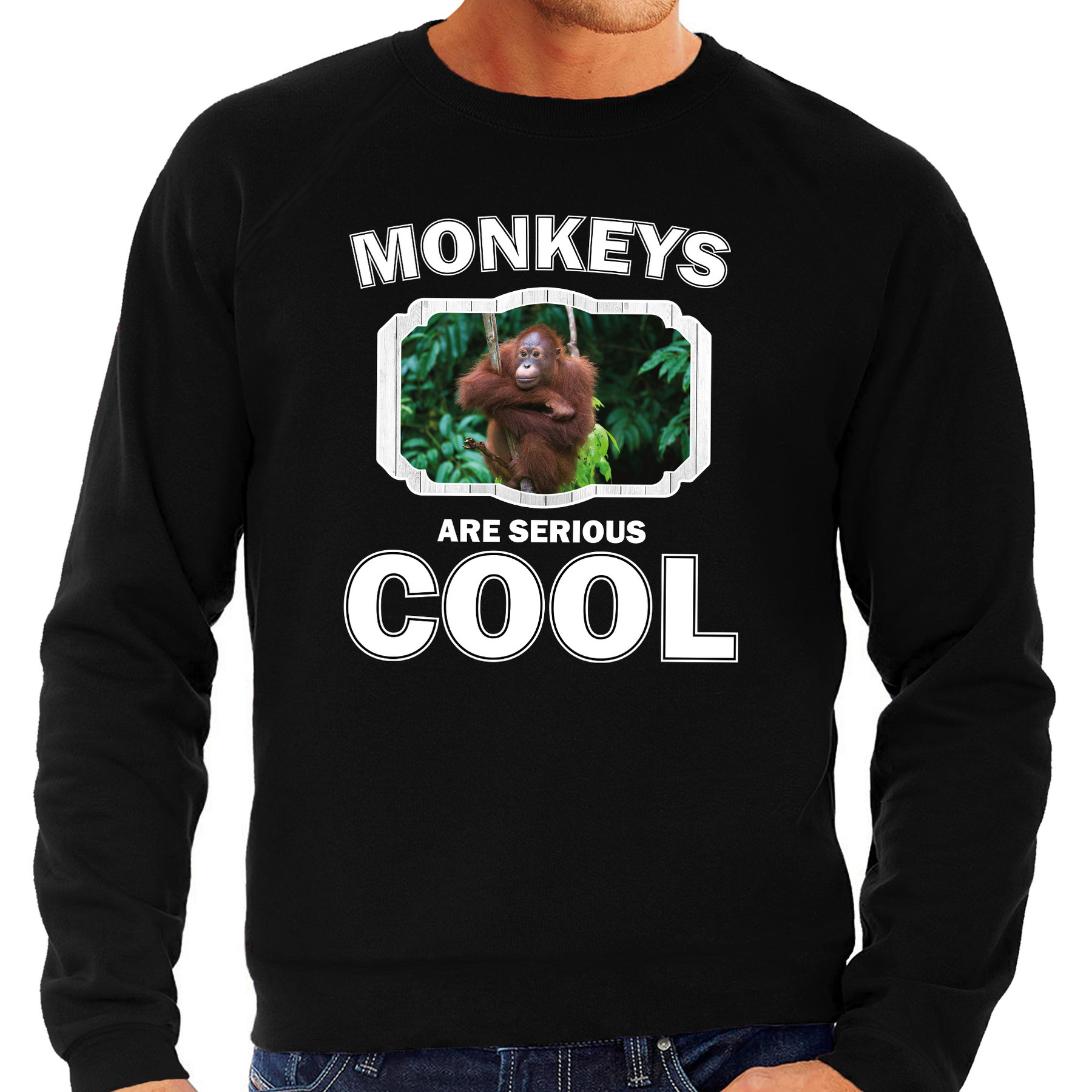 Sweater monkeys are serious cool zwart heren - Apen/ orangoetan trui